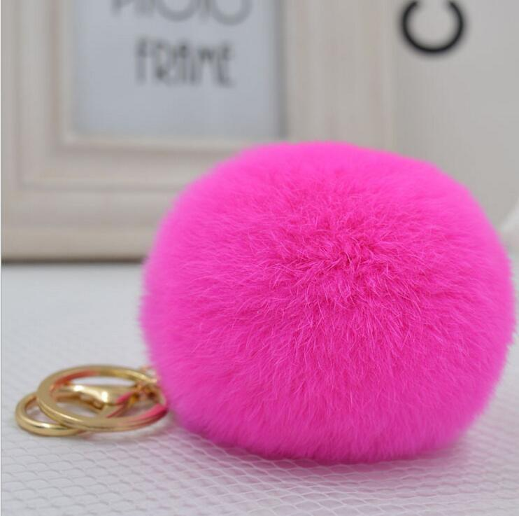 Hot Sale 8CM Fluffy Ball phone Keychain Cute Pompom Simulation fox Fur Ball Key Chain For Car Key Ring Car Bag Pendant Chaveiro(China (Mainland))