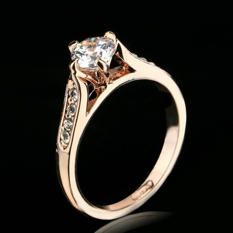Гаджет  Classic CZ Diamond 1ct Wedding Finger Ring Wholesale 18K Gold Plated Crystal Paved Fashion Jewelry For Women aneis joias DFR065 None Ювелирные изделия и часы
