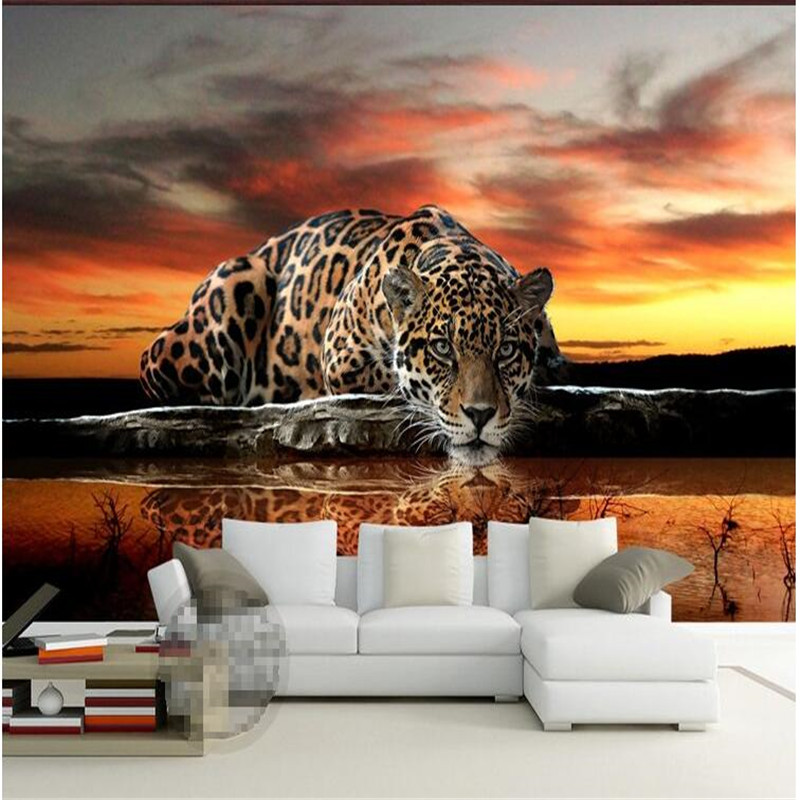 custom photo wallpaper High quality leopard wall covering living room sofa bedroom TV backdrop wallpaper mural wall paper(China (Mainland))