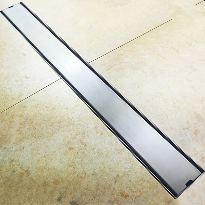 Фотография Free shipping,high-quality 60cm 80cm hotel long 304 stainless steel tile linear floor drain ceramic insert shower drain
