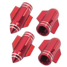 Car Red Alloy Rocket Design Tire Tyre Valve Covers Caps Replacement 4 Pcs