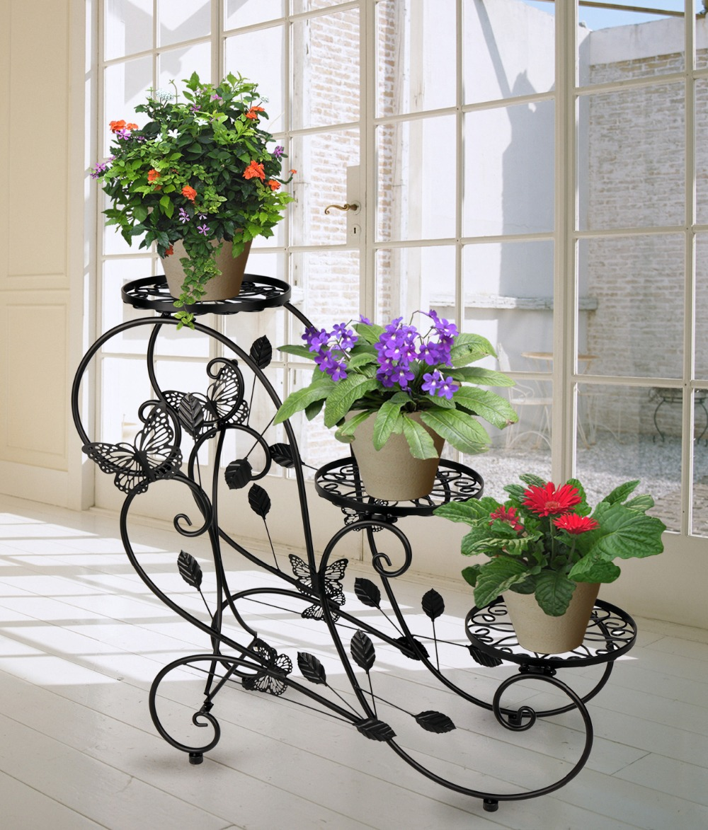 Hlc Classic Plant Stand Shelf Holds 3 Flower Pot Black