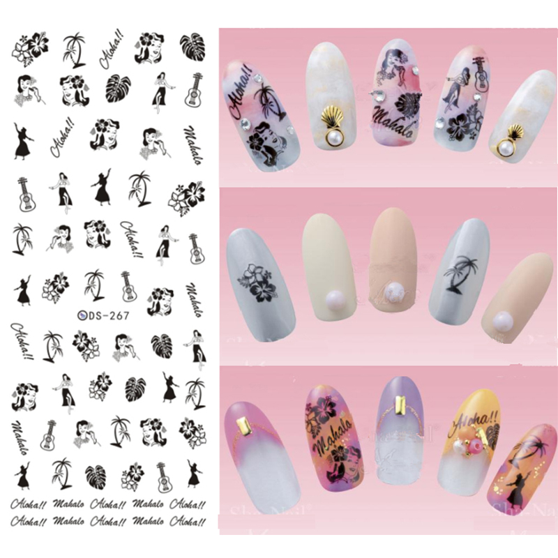 Hawaii vacations Beauty Nail art Woman,guitar,coconut trees Nail Stickers For Nails Water Transfer Decals Sticker 20 types DS267(China (Mainland))