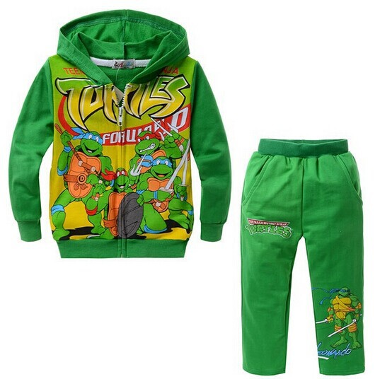 2014 NEW boys cartoon character long sleeve clothing sets kid's Teenage mutant ninja turtles design hooded clothing suits(China (Mainland))