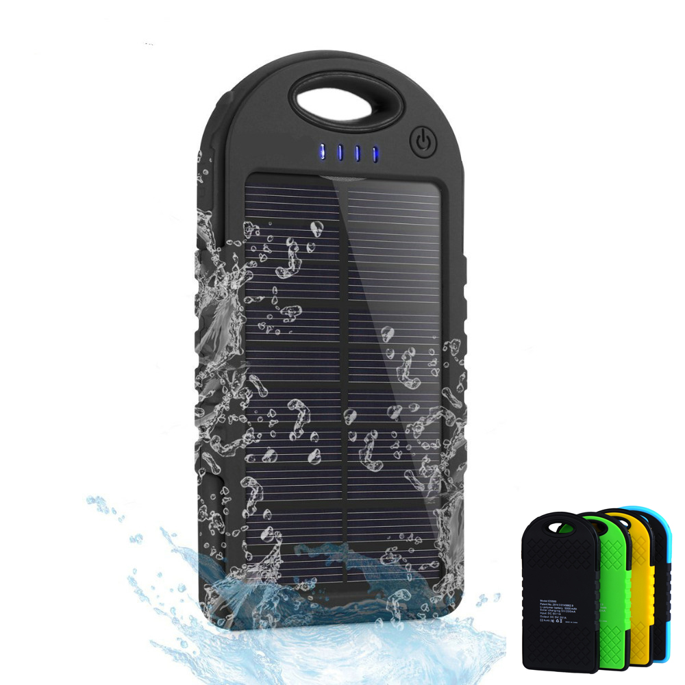 5000mAh Waterproof Solar Power Bank Dual USB Portable Charger Outdoor Travel Enternal Battery Powerbank for iPhone Android phone(China (Mainland))