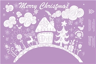100pcs/lot Hight quality Cute Christmas purple quality waterproof courier bags bags 35 * 48cm custom personalized(China (Mainland))