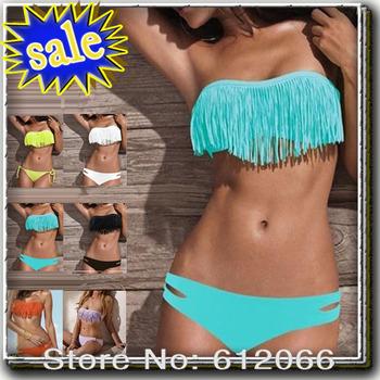 New Arriva Tassel fringe swimsuit  Promotion!sexy bikini with cup fashion sexy swimwear sexy women' s solid  A01088