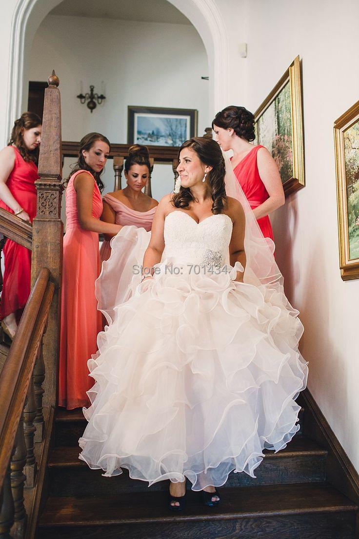 Stunning Lace Corset Organza Wedding Dress Brand Custom Made Sweetheart Bridal Wedding Gown Open Back(China (Mainland))