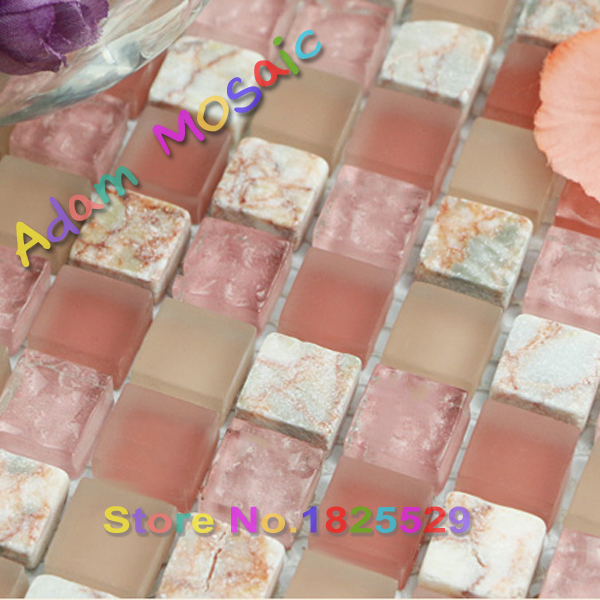 frosted glass mosaic tile bathroom shower wall art design pink tiles kitchen backsplash natural white stone tile subway home bar(China (Mainland))