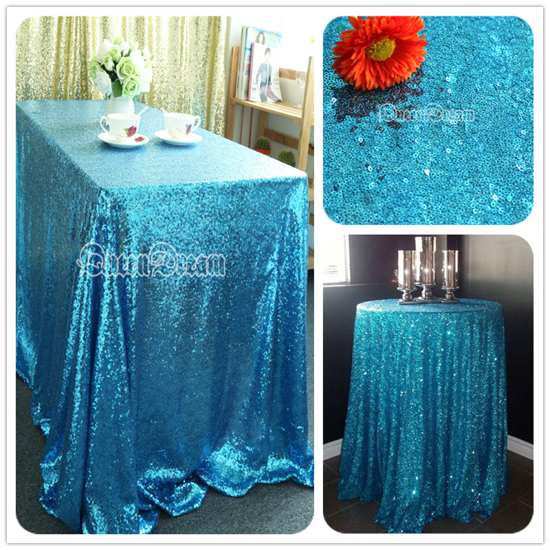 Factory Prices Aqua Blue 40''x60'' Table Cloth Rectangular Sequin Tablecloths for Weddings(China (Mainland))