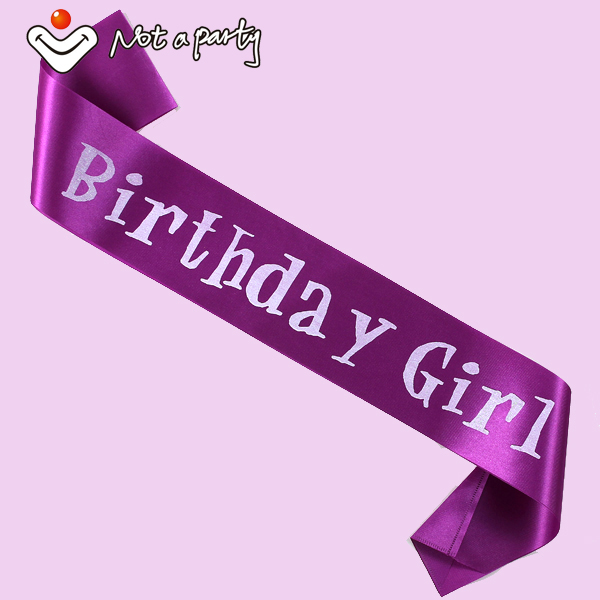 Lovely Birthday girl's sash brooch headband hat tiara etc purple pink and black colors fit all souvenirs birthday event(China (Mainland))