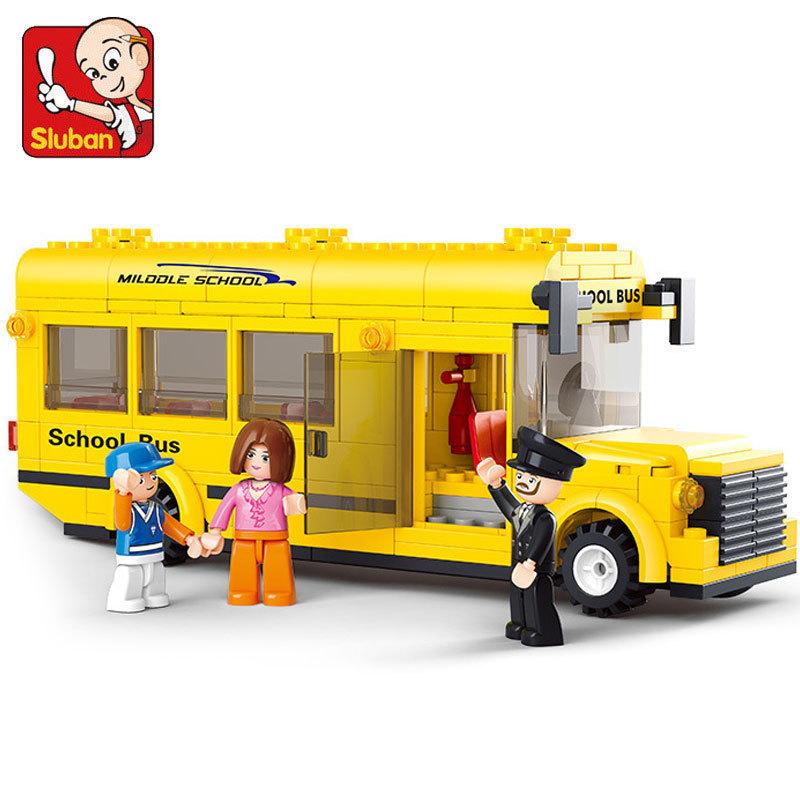 Sluban assembled building blocks 0507 mini school bus toy building blocks children's educational toys Compatible with Legoe(China (Mainland))