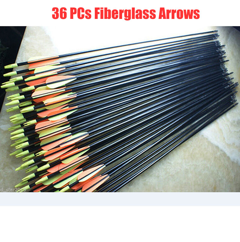 36pcs Set Target Practice Steel Point Fiberglass Arrows 82cm 30 80ibs Archery Arrows for Hunting Compound