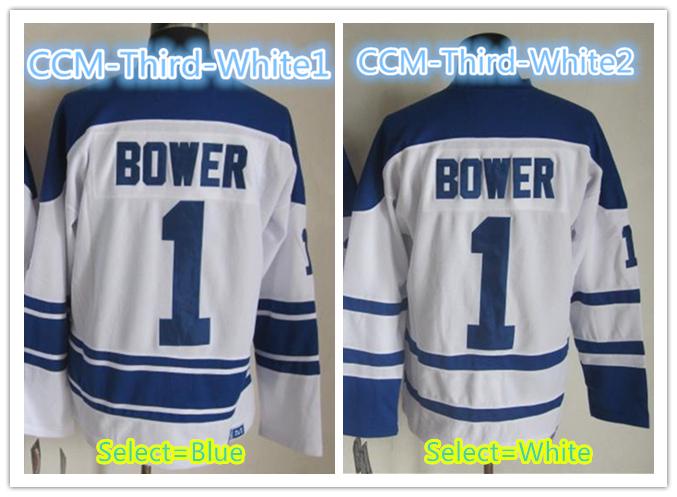 Mens Toronto # 1 Johnny Bower Throwback CCM Home Blue Road White Third Alternate 75th Anniversary Ice Hockey Jersey<br><br>Aliexpress