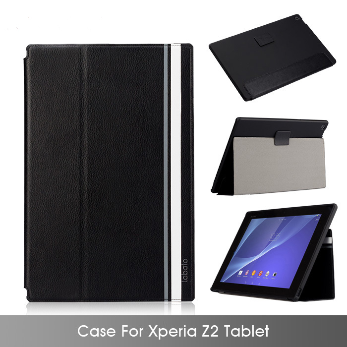 Labato Case For Sony Xperia Z2 tablet 100% Handmade Leather + PC Stand Magnetic Smart Cover For Xperia Z2 tablet Free Shipping(China (Mainland))
