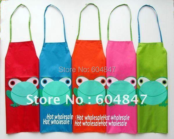 Wholesale 10pcs/lot Frog Children Kitchen Apron kids Waterproof Apron