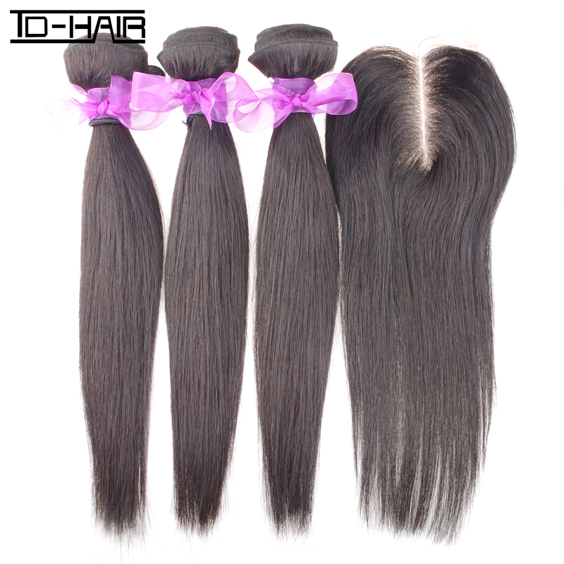 TD HAIR 5A Brazilian virgin Human hair straight weave bundles extension Middlepart lace closure 4pcs lot Natural black color 1B<br><br>Aliexpress
