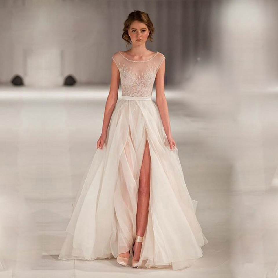 high end can be tailored a line wedding dresses sheer neck