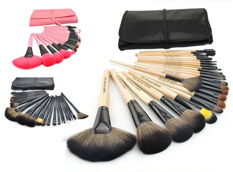 Wholesale 50set/lot Professional 24pcs Makeup Brush Set Make up Brushes Kit Brand Cosmetics Tools With PU Leather Case
