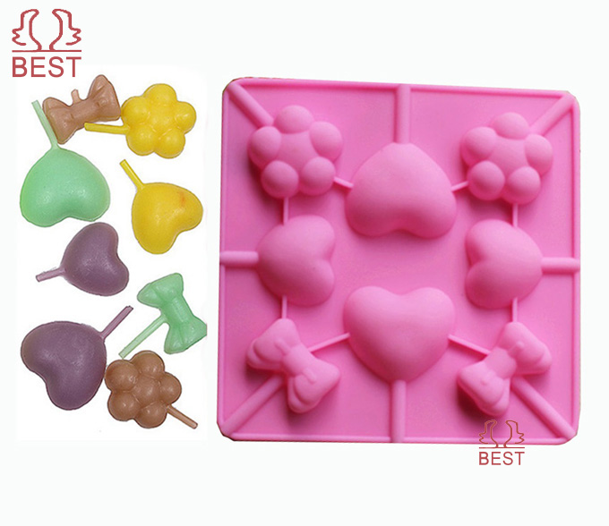 New lollipop Silicone mold heart cake mold baking bow Chocolate Decoration tools #BCM045(China (Mainland))