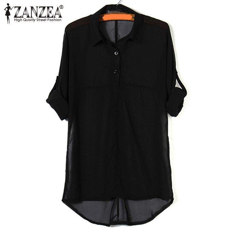Plus Size S-5XL 2015 New Summer Women Apparent Long Batwing Sleeve Chiffon Shirt Turn-down Collar Loose Casual All-match Blouses(China (Mainland))