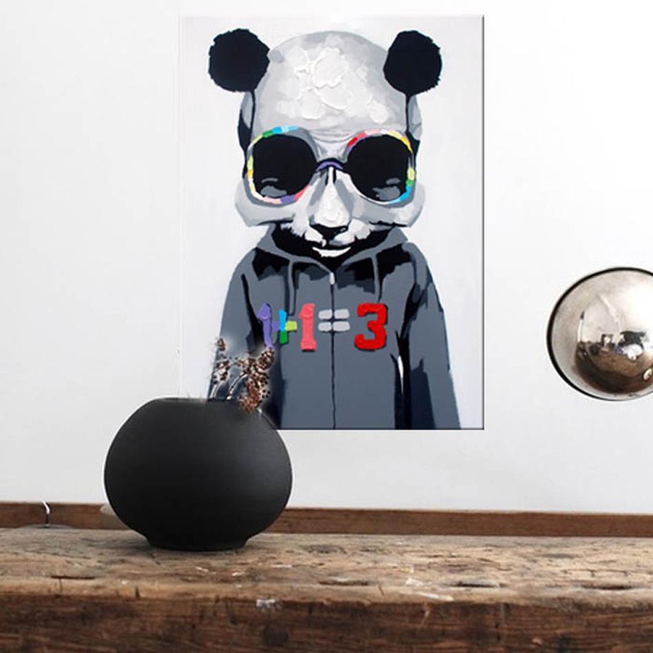 Free Shipping 100% Handpainted a funny cool fashion bear wear glasses jacket Oil Painting On Canvas Wall Art Pictures Home Decor