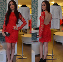 Best Sale 2015 Red Long Sleeve Lace Cocktail Party Dress See Through Fashion Sexy Women Special Occasion Dresses