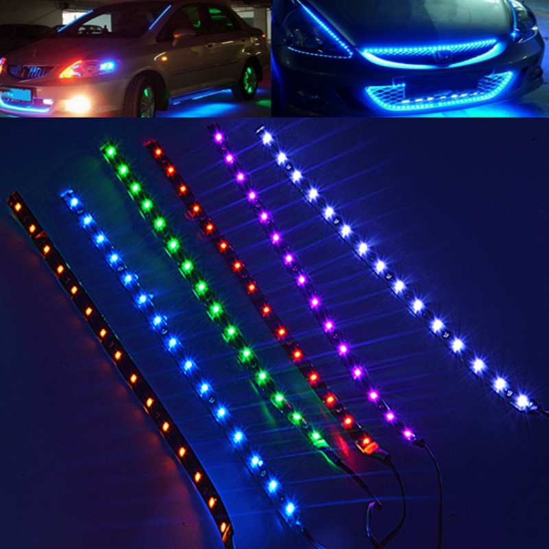 2pcs Waterproof 30cm SMD 3528 15 LED Flexible Car Strip Light Bulb DC 12V Underbody Red / Blue / Purple / Green / White / yellow(China (Mainland))