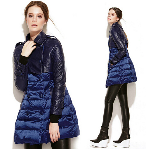 European Big Brand Fashion 2014 Winter Coat New Casual Women Down Parka High Quality Slim Thick Warm Patchwork Pu LeatherОдежда и ак�е��уары<br><br><br>Aliexpress
