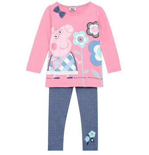 pc retail lovely baby clothing sets cartoon pink pig girls clothes