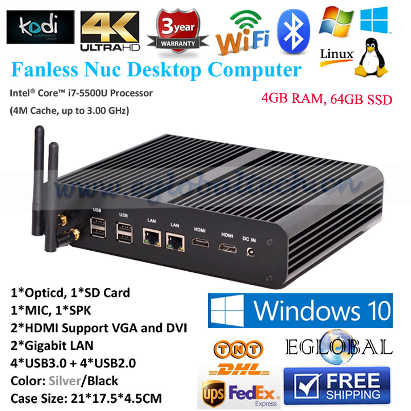 Eglobal Portable Linux Computer Fanless Mini Nuc PC Core i7 5500U 4GB RAM 64GB SSD 2*HDMI 2*Gigabit Lan 4K HTPC Nettop Windows 8(China (Mainland))