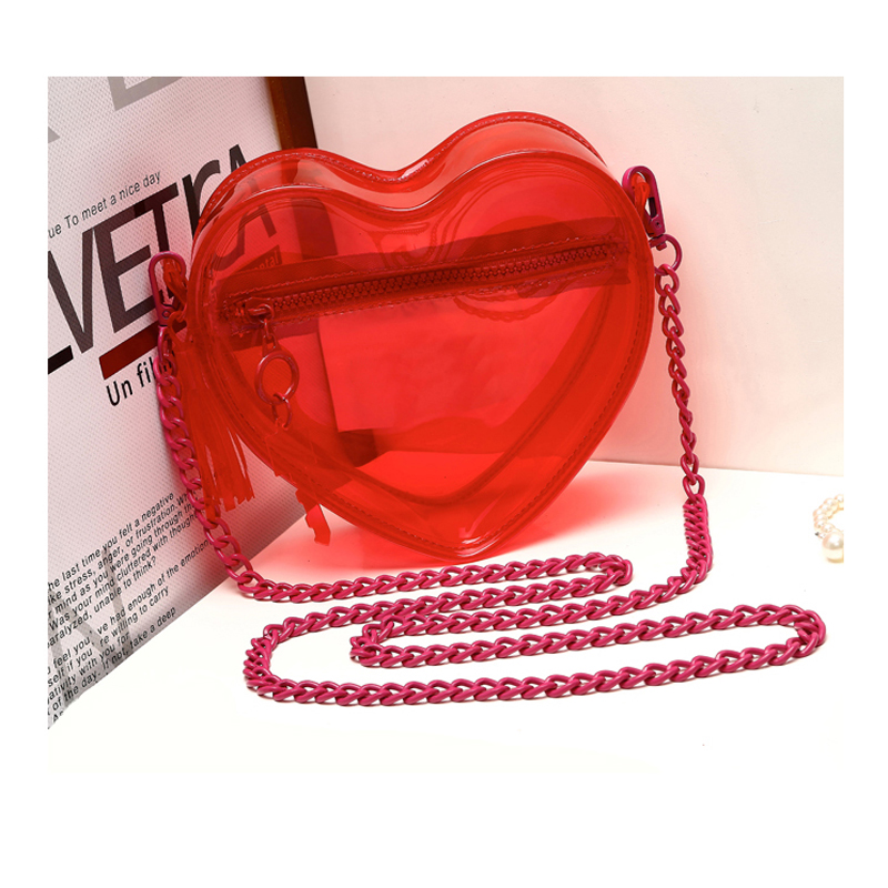 Ulzang Women Shoulder Bags Transparent Plastic Heart Shape Single Chain Bag Small Candy Red Tassel Phone Bags(China (Mainland))