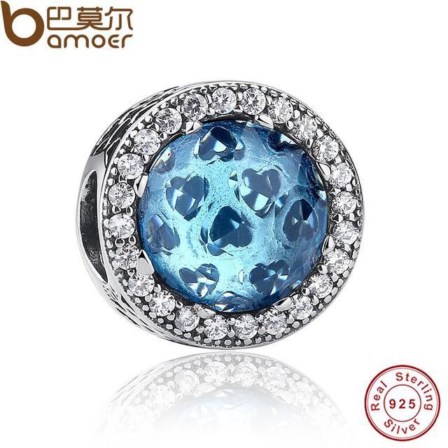Стерлингового Серебра 925 Сияющий Сердца, небесно-Голубой Кристалл и Ясно CZ Шарм ...