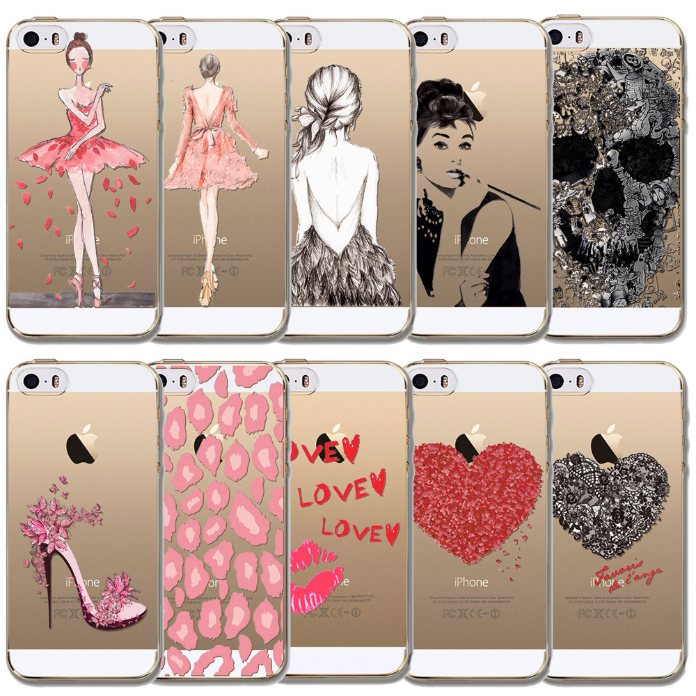 Best Selling Phone Case For Apple iPhone SE 5 5s Pink Beautiful Girls Cute Love Skull Mouth High Heel Soft Clear Coque Silicone(China (Mainland))