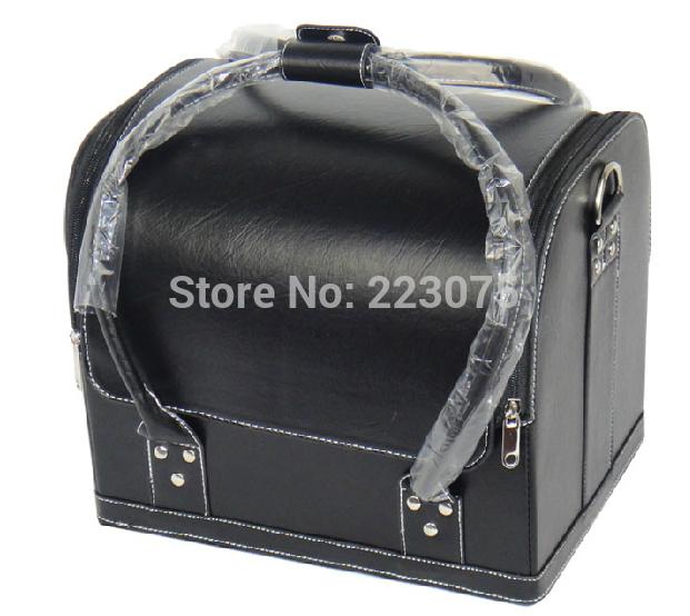 Large leather makeup bag