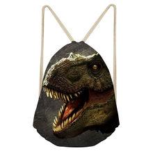Hycool Мужская спортивная сумка для фитнеса с рисунком динозавра для мальчиков, спортивный рюкзак мешок с кулиской, открытый тренировочный Ме...(China)