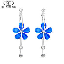 Vintage Crystal Long Earring For Women Colorful Flower Shaped Drop Earrings Women Dangle Earrings Jewelry With Box Packing(China (Mainland))