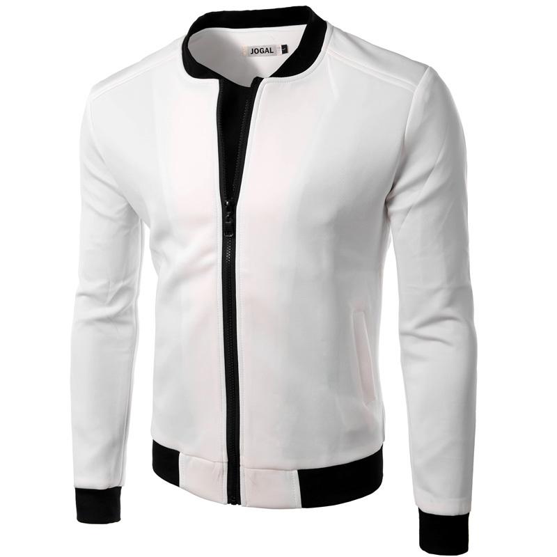 New White Jacket Men 2016 Fashion Design Mens Slim Fit Zipper Baseball Jacket Brand Stylish College Varsity Jacket Vest Homme(China (Mainland))