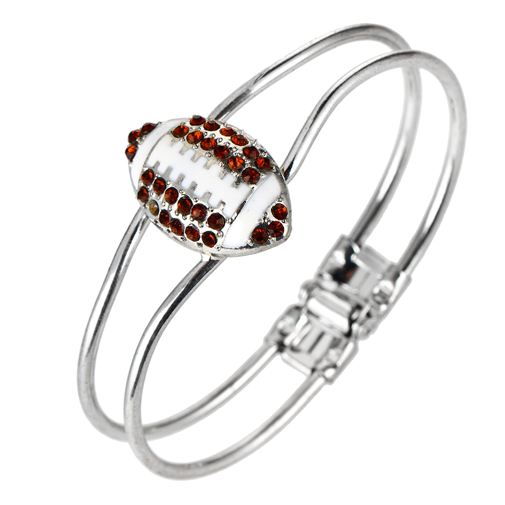 One Piece Fashion Jewelry Crystal Deco Rugby Hinge Sports Charm Rhodium plated Bangle b35(China (Mainland))