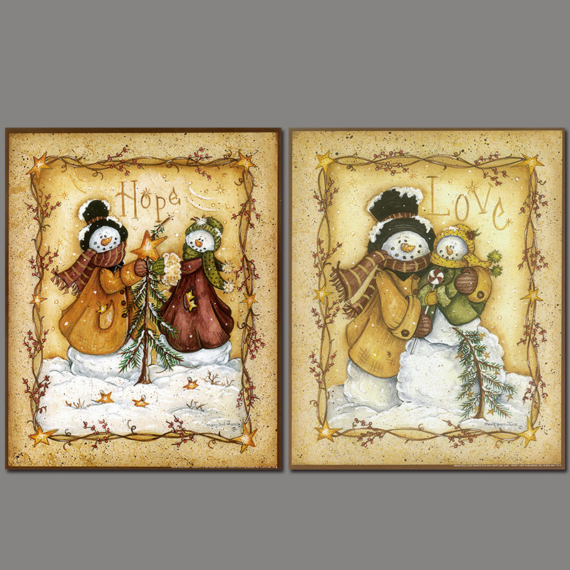 2pcs/set European style Snowman family winter decoration wall art pictures poster Canvas Painting print for living room unframed(China (Mainland))