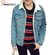 Winter Woolen Liner Man Jeans Denim Jacket Turn-down Collor Single Breasted Coat Thicken Warming Men Fashion Outerwear(China (Mainland))
