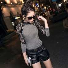 Fashion Women Crew Neck Hollow Out Long Sleeve Slim Knitwear Female Sexy Lace Party Club Wear Base Sweater Size M L XL Hot Sale(China (Mainland))