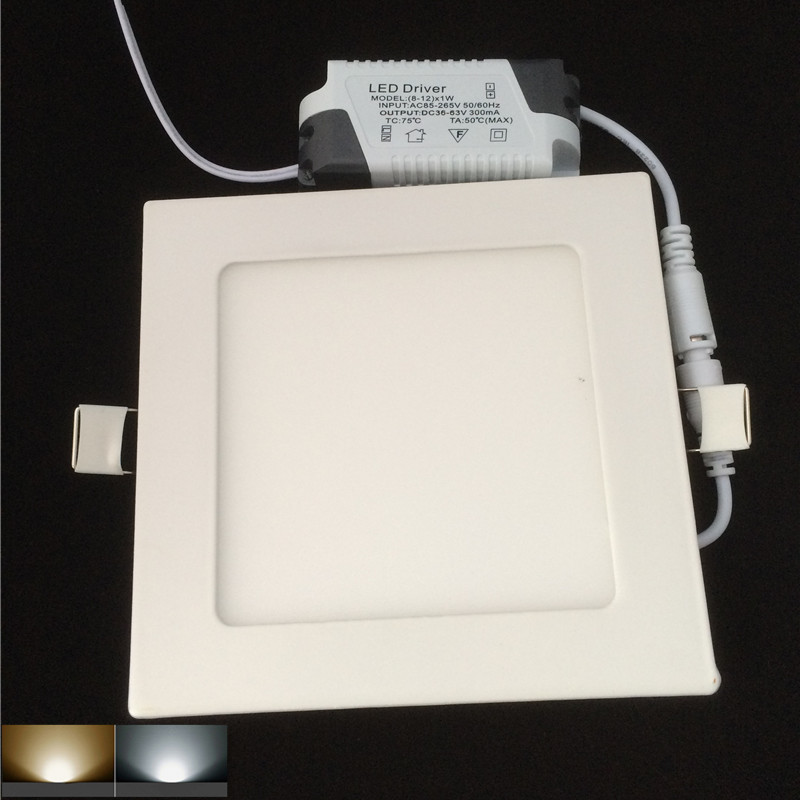 DHL Free shipping 10X Ultra Thin Led Panel Downlight 9w Square LED Ceiling Recessed Light AC85-265V LED Panel Light SMD2835<br><br>Aliexpress