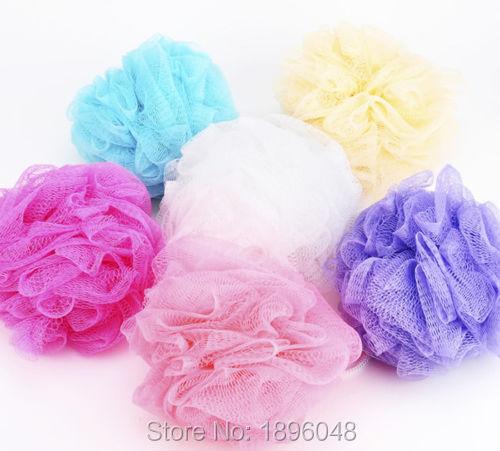 Body Bath Sponge Mesh Net Puff Ball Shower Wash Exfoliate Scrub 7 Colors(China (Mainland))