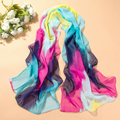 Newest arrive Women s Rainbow Color Gradient Chiffon Soft Long Beach Shawl Wrap Scarf