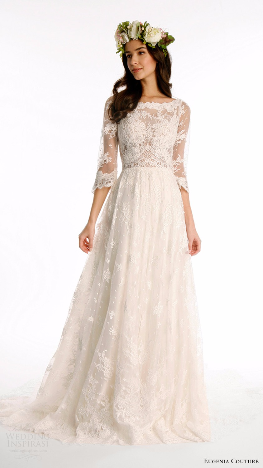 High quality lace bohemian wedding dresses 2017 3 4 for Wedding dresses with sleeves 2017