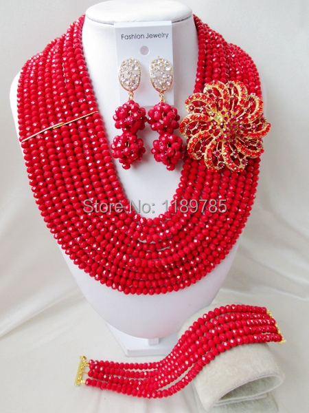 Luxury African Wedding Set Nigerian Crystal Beads necklace Fashion perfect India Women Bridal  Jewelry Set Free Shipping B-13044<br><br>Aliexpress