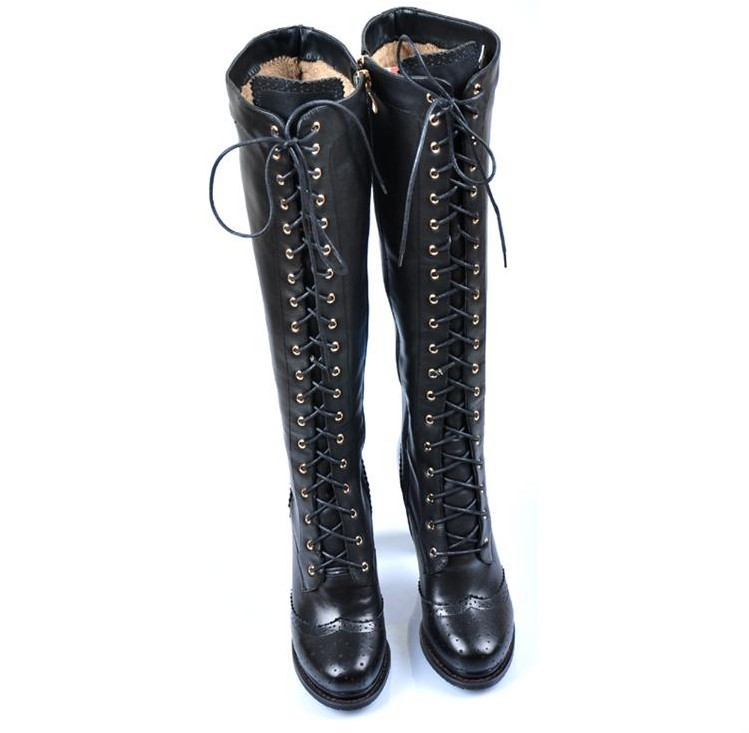 genuine leather zipper knee high boots for