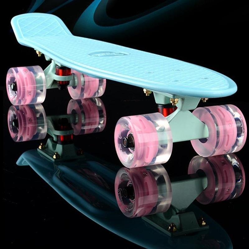 2017 mini Cruiser Skateboard LED light Four wheel Skate board adult&children small skateboarding Penny Board banana Long Board(China (Mainland))