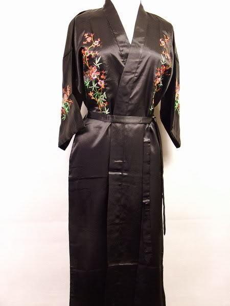 Последние новинки леди сатинировки халат ночной рубашке вышитые пижамы кимоно платье ...